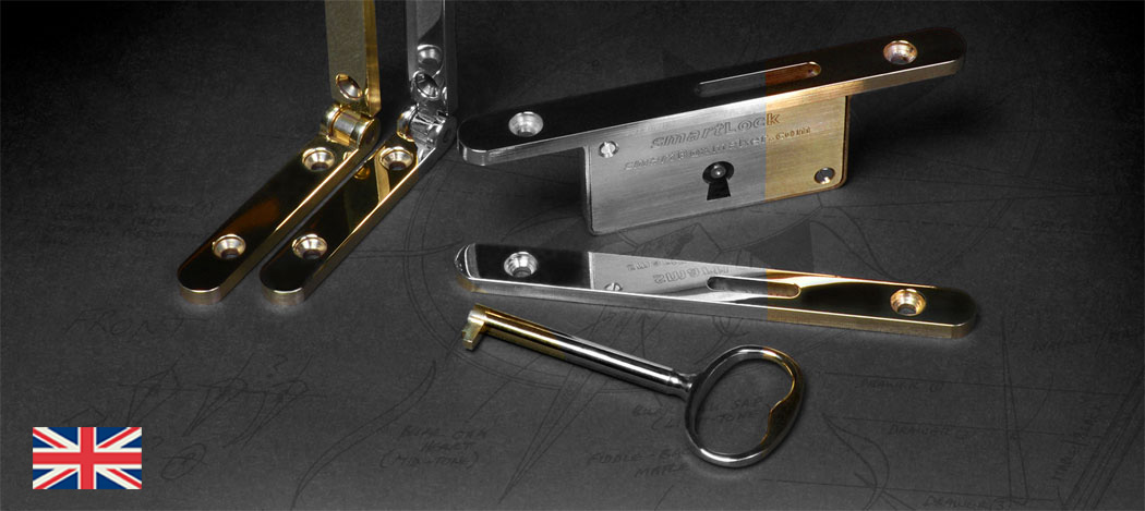 smartWare - highest quality jewellery box hardware - side rail hinges and locks,all available in polished brass, rhodium plate and gold plate